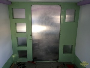 View of the aluminum back wall from the inside of the shelter