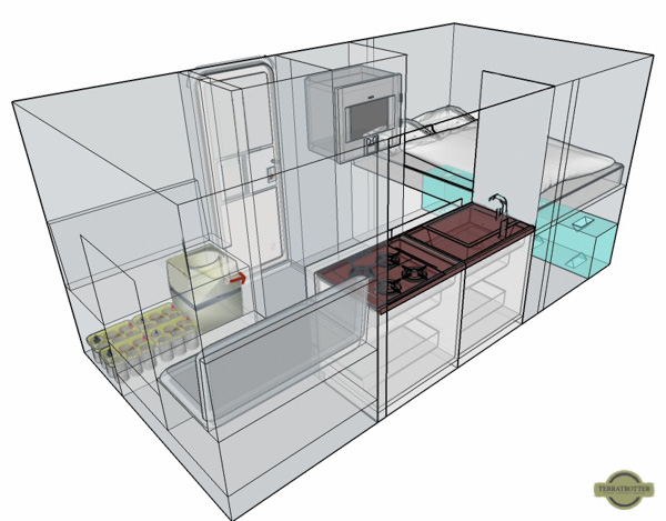 First sketch of the interior layout of our tiny home