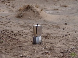 Italian espresso maker in the dessert