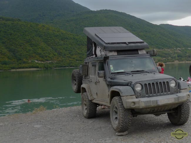 Solar panels on jeep