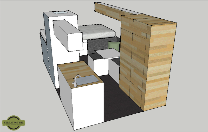 Sketch of Interior Expedition Truck, Side view