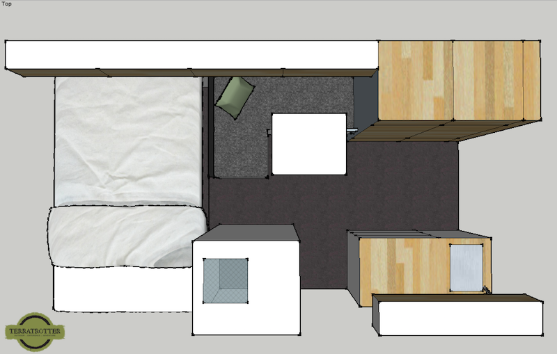 Sketch Interior Expedition Truck, Top view