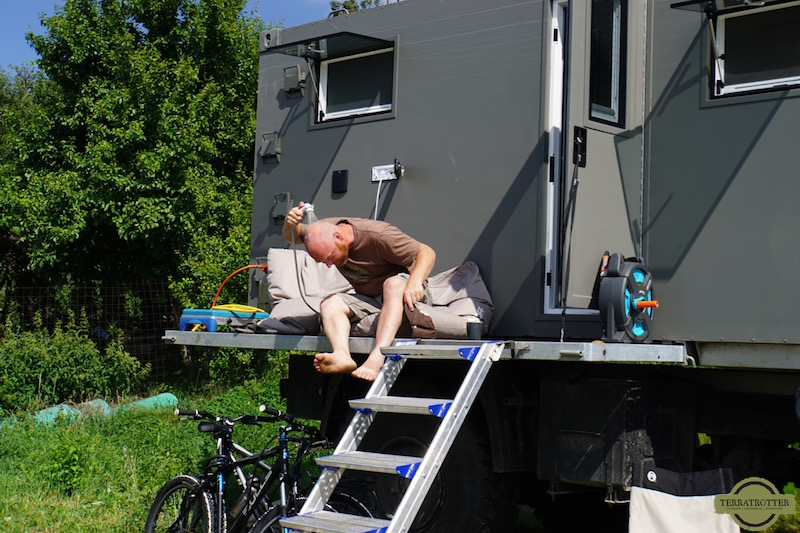 Cooling off with outdoor shower | Expedition Truck
