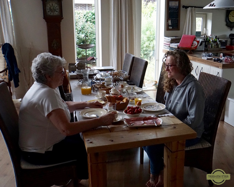 Having breakfast with family