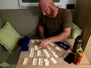 Playing Rummikub inside our Expedition Truck