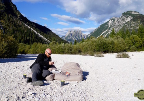 Playing UNO in river bed