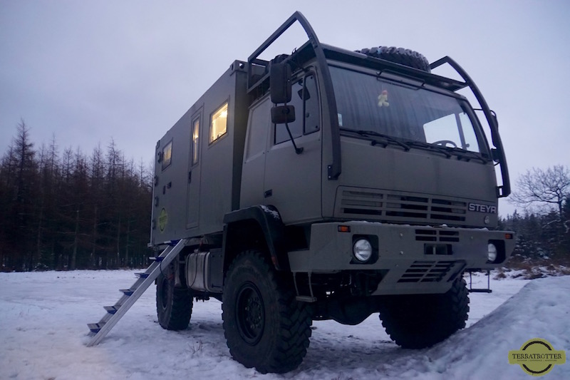 Terratrotter's expedition overland camper truck in the snow