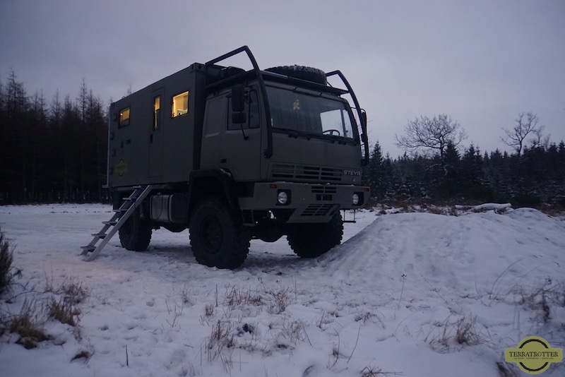 Expedition truck in snow